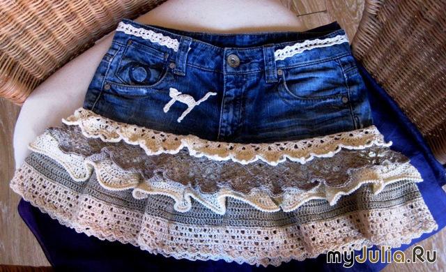Сшить джинсовую юбку с воланами своими руками