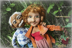 портретные куклы с рельефным лицом.Портретные текстильные куклы Тролль Аида и Мурат с малиной. Куклы по фото.