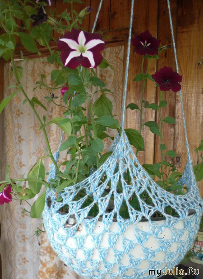 Кашпо для цветов своими руками: вязаное спицами 71