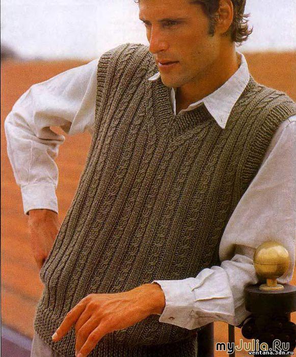 Вязание на спицах для мужчин жилетки