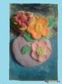 Вазочка с цветами из глины.Маме на 8 марта.Наташа , 15 лет.
