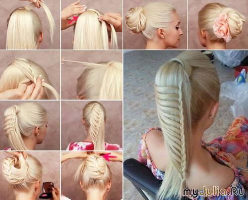 Косы прически для длинных волос своими руками