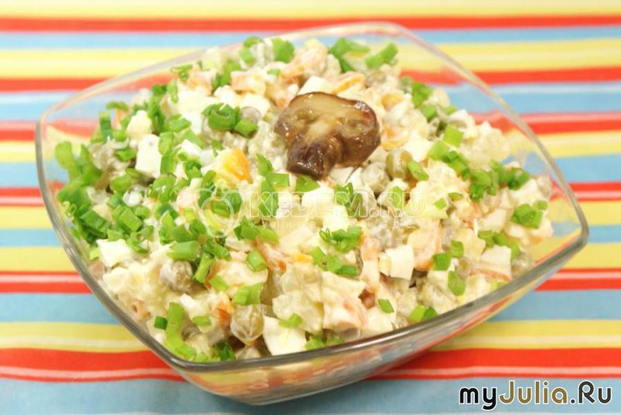 Салат с грибами и яблоком фото рецепт