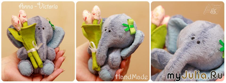 Слоник с тюльпанами