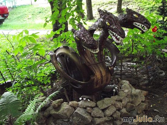 Змея горыныча из шин своими руками мастер класс