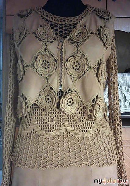 Комбинированное вязанье с тканью