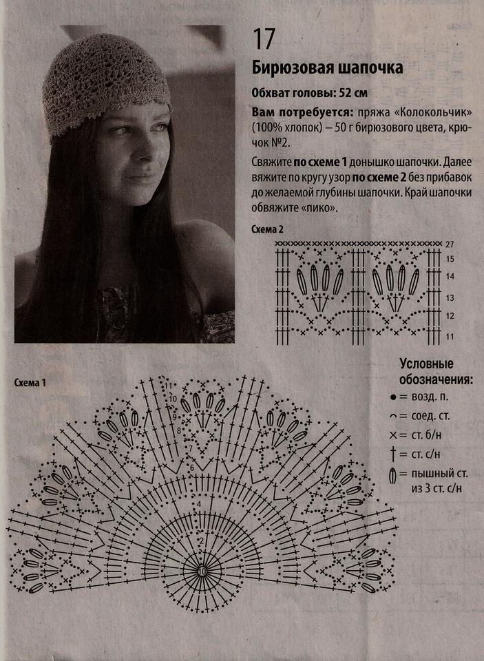 летняя шапочка крючком схема вязания альбом шапки шляпки