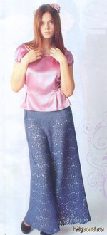 Ажурная юбка-брюки крючком