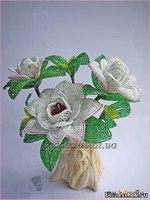 Цветок гардения из бисера. Пошаговый фото мастер класс.