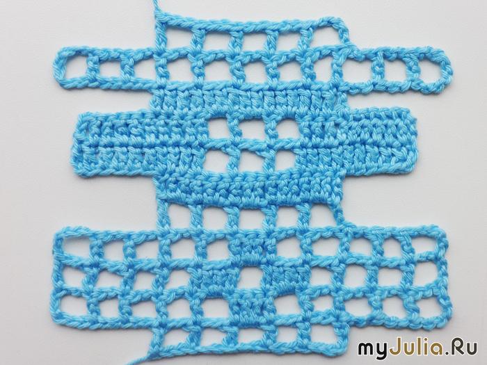 филейная сетка прибавление и убавление клеточек вязание крючком
