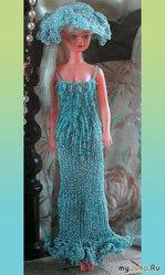 Вязаное платье и шляпка для Барби из бисера