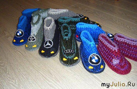 Дизайнерские тапочки на подошве БМВ, Ауди, Тойота, Мерседес. Домашняя обувь. Ручная работа