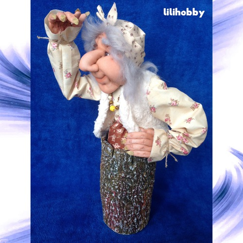 Баба Яга в ступе кукла копилка 4