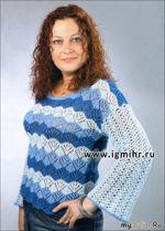 Ажурный пуловер с разноцветными полосами. Спицы и Крючок