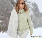 Ребристый пуловер с центральной «косой»