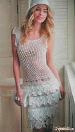 Очаровательное белое платье, крючком.