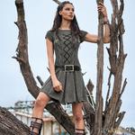 Серебристо-серое платье со шнуровкой спицами