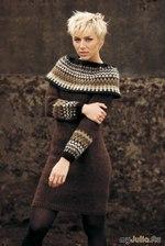 Интересное теплое платье с жаккардовым воротом. Перевод описания к нему Ксении Максимовой