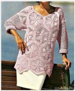 Ажурный джемпер для роскошных женщин - из бразильского журнала по вязанию